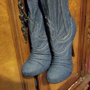Denim  slouch boots Sz 10